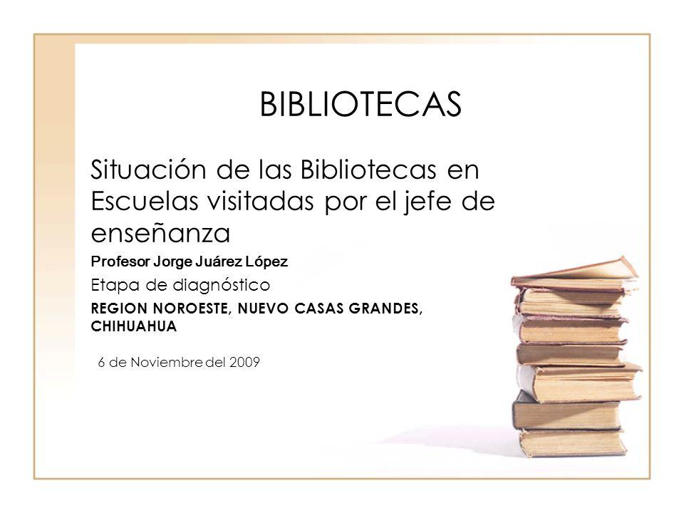 BIBLIOTECAS Situación de las Bibliotecas en Escuelas visitadas por el jefe de enseñanza Profesor Jorge Juárez López Etapa de diagnóstico REGION NOROES