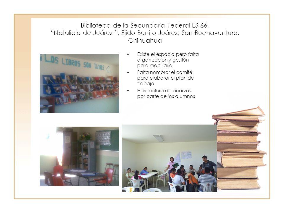 Biblioteca de la Secundaria Federal ES-78, Natalicio de Juárez, Ejido Constitución, San Buenaventura, Chih El espacio de la biblioteca está en la oficina de la dirección.