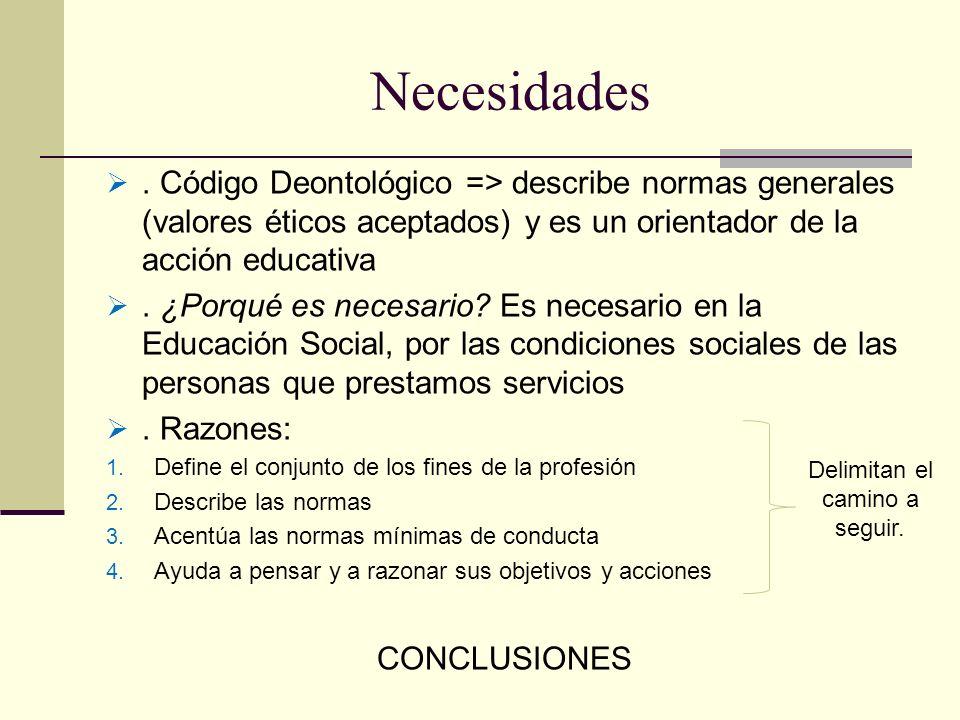 Necesidades. Código Deontológico => describe normas generales (valores éticos aceptados) y es un orientador de la acción educativa. ¿Porqué es necesar