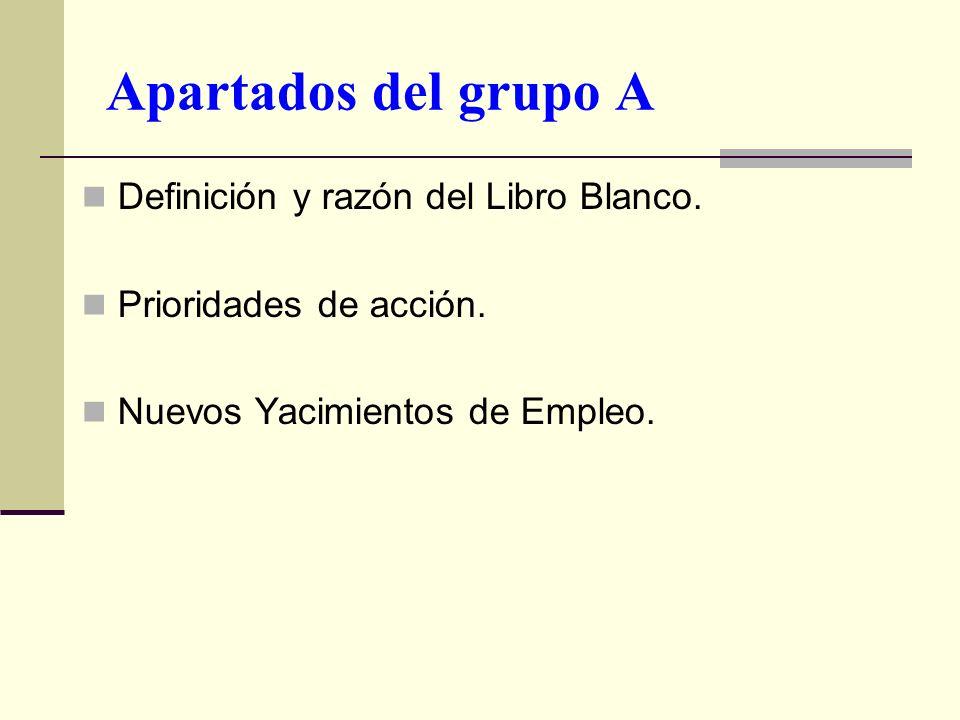 Apartados del grupo A Definición y razón del Libro Blanco. Prioridades de acción. Nuevos Yacimientos de Empleo.
