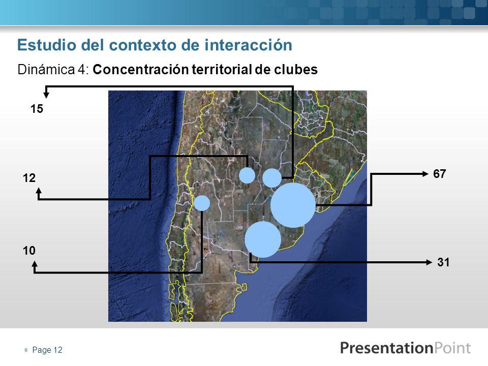 Page 12 Estudio del contexto de interacción Dinámica 4: Concentración territorial de clubes 67 31 15 12 10