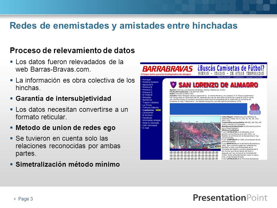 Page 3 Redes de enemistades y amistades entre hinchadas Los datos fueron relevadados de la web Barras-Bravas.com. La información es obra colectiva de
