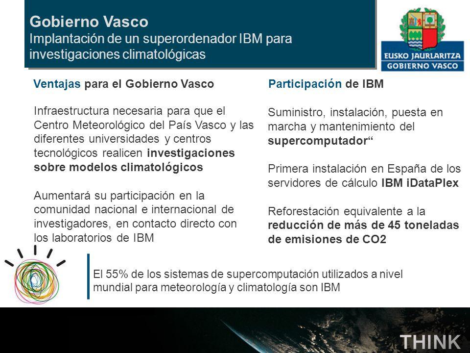 Gobierno Vasco Implantación de un superordenador IBM para investigaciones climatológicas Participación de IBM Suministro, instalación, puesta en march