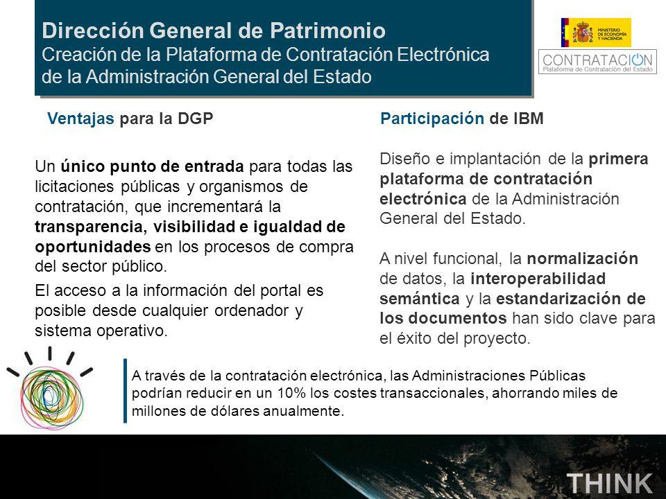 Dirección General de Patrimonio Creación de la Plataforma de Contratación Electrónica de la Administración General del Estado Participación de IBM Dis