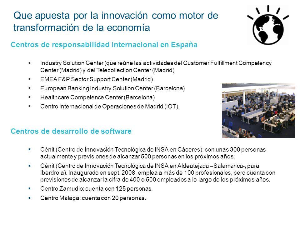Centros de responsabilidad internacional en España Industry Solution Center (que reúne las actividades del Customer Fulfillment Competency Center (Mad