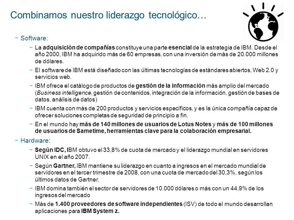 Software: La adquisición de compañías constituye una parte esencial de la estrategia de IBM. Desde el año 2000, IBM ha adquirido más de 60 empresas, c