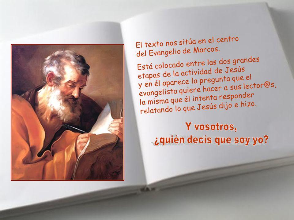 El texto nos sitúa en el centro del Evangelio de Marcos.