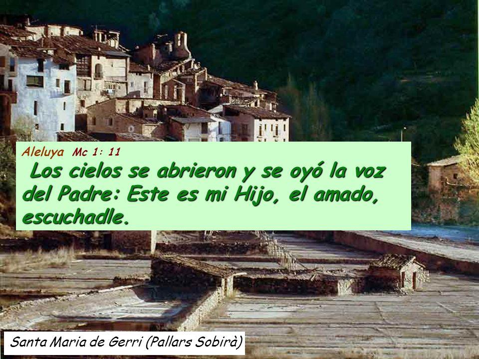 Santa Maria de Gerri (Pallars Sobirà) Aleluya Mc 1: 11 Los cielos se abrieron y se oyó la voz del Padre: Este es mi Hijo, el amado, escuchadle.