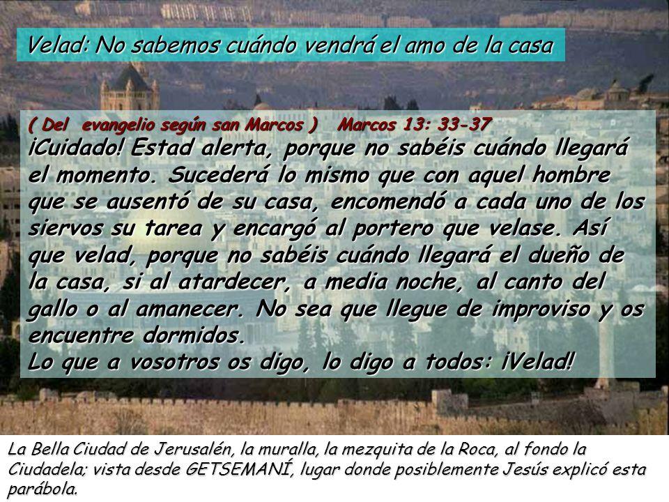 Velad: No sabemos cuándo vendrá el amo de la casa ( Del evangelio según san Marcos ) Marcos 13: 33-37 ¡Cuidado.