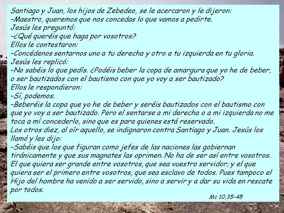 Santiago y Juan, los hijos de Zebedeo, se le acercaron y le dijeron: –Maestro, queremos que nos concedas lo que vamos a pedirte.
