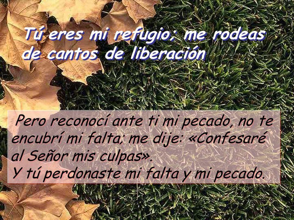 Tú eres mi refugio; me rodeas de cantos de liberación Tú eres mi refugio; me rodeas de cantos de liberación Pero reconocí ante ti mi pecado, no te encubrí mi falta; me dije: «Confesaré al Señor mis culpas».