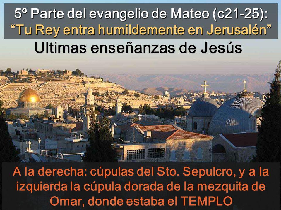 5º Parte del evangelio de Mateo (c21-25): Tu Rey entra humildemente en Jerusalén A la derecha: cúpulas del Sto.