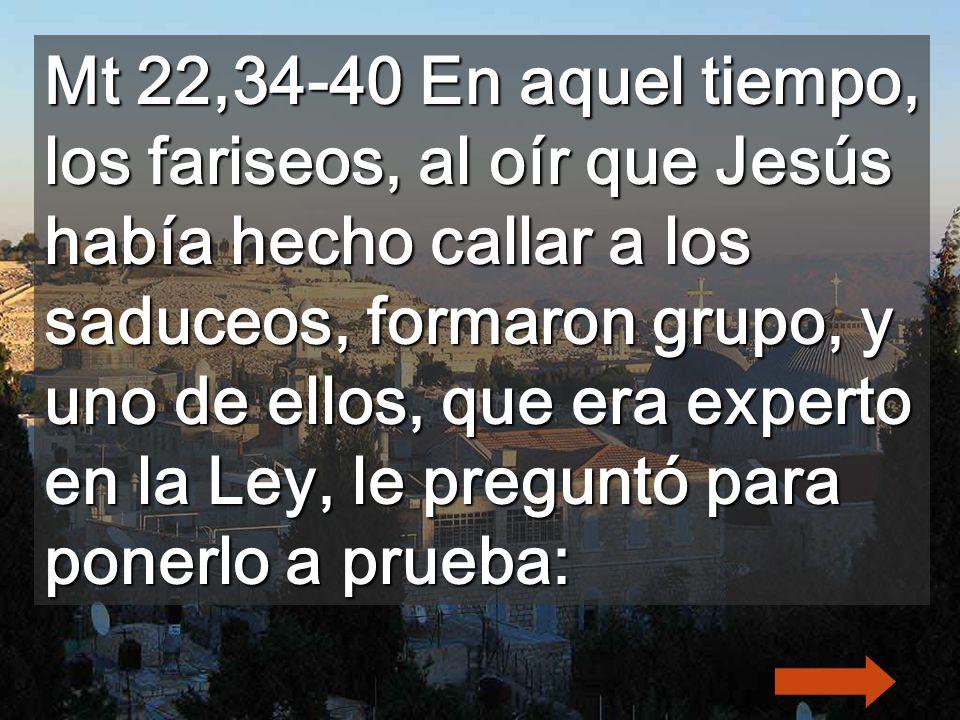 Mt 22,34-40 En aquel tiempo, los fariseos, al oír que Jesús había hecho callar a los saduceos, formaron grupo, y uno de ellos, que era experto en la Ley, le preguntó para ponerlo a prueba: