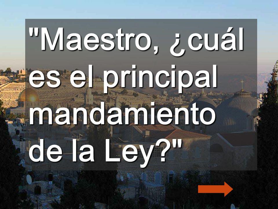Maestro, ¿cuál es el principal mandamiento de la Ley?