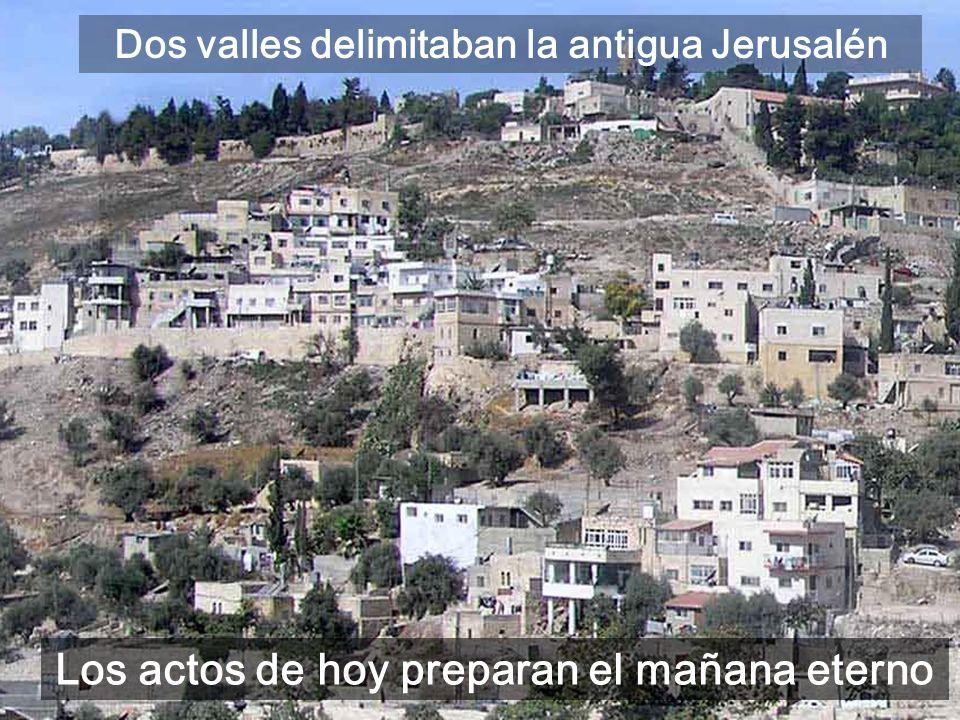 Josafat, a la derecha, el valle de los justos Gehenna, a la izquierda, el valle de los injustos Los actos de hoy preparan el mañana eterno Dos valles delimitaban la antigua Jerusalén