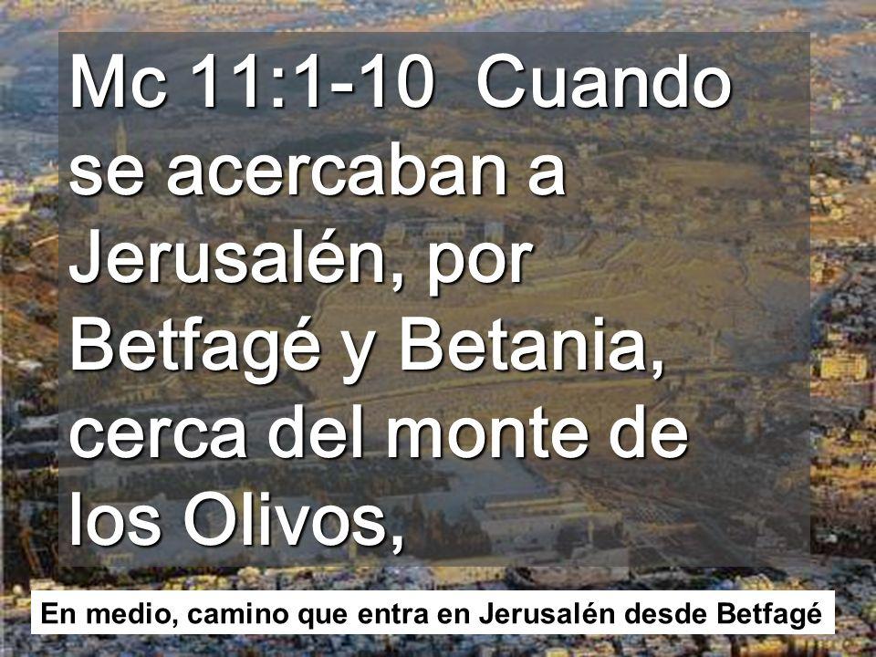En Marcos la Entrada de Jesús en Jerusalén es el inicio de la revelación del SECRETO mesiánico En la primera parte del evangelio Jesús no quería que le aclamaran, viendo los milagros que hacía.