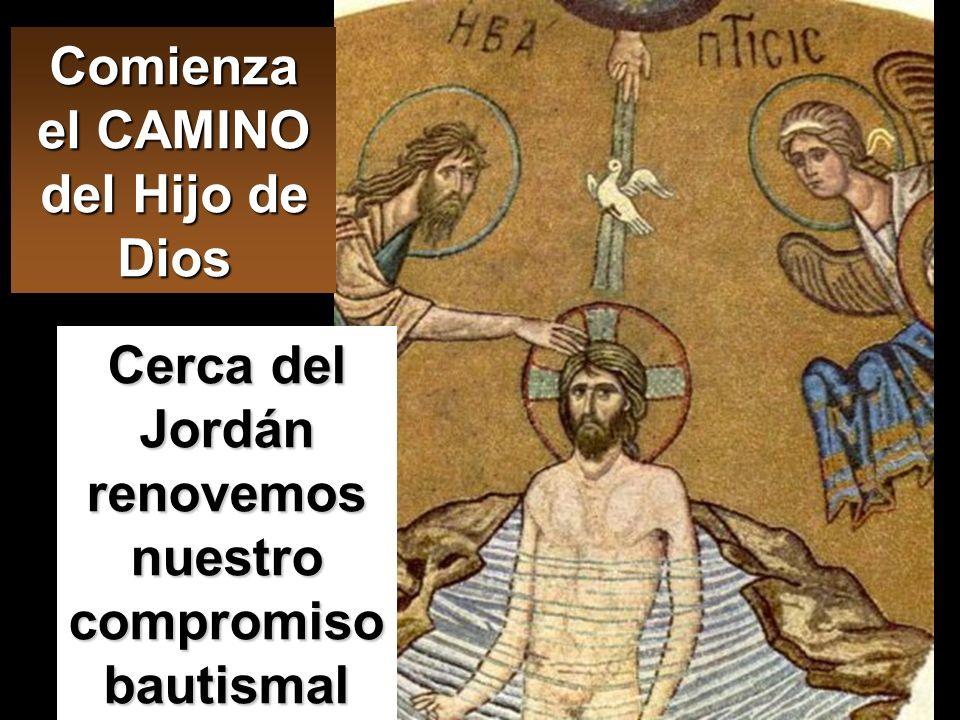 Mc 1,1-8 Comienza el Evangelio de Jesucristo, Hijo de Dios. Río Jordán. Al fondo, lugar donde Juan bautizaba