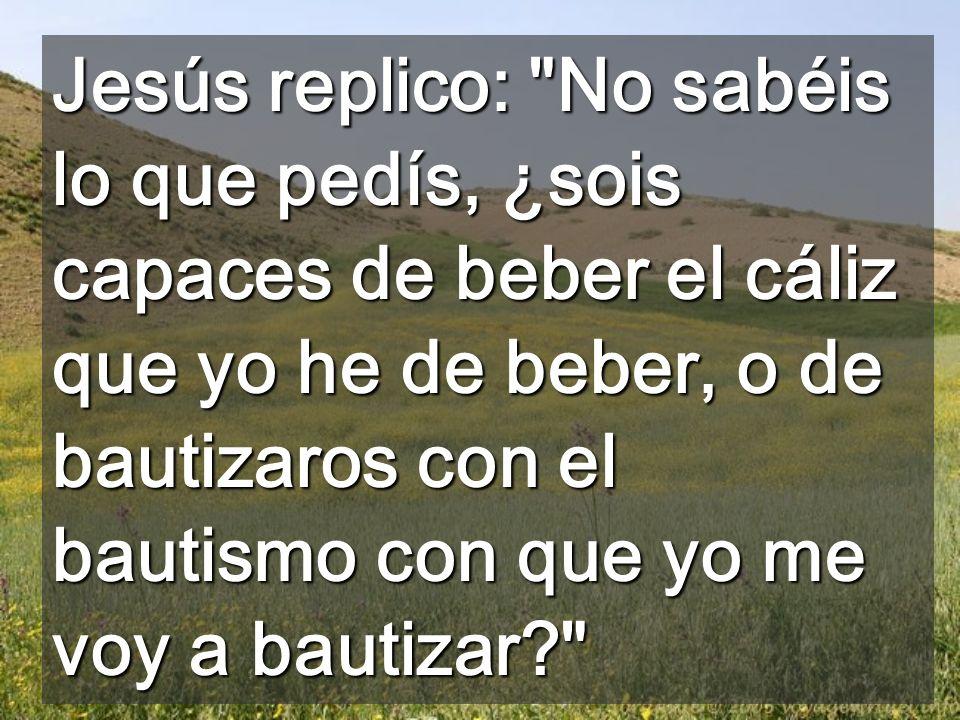 Jesús replico: No sabéis lo que pedís, ¿sois capaces de beber el cáliz que yo he de beber, o de bautizaros con el bautismo con que yo me voy a bautizar?