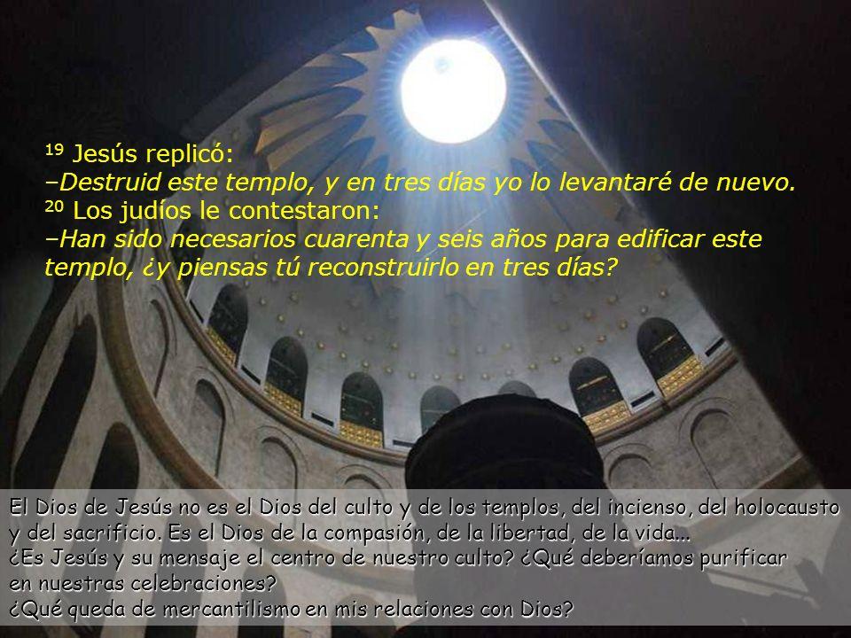 18 Los judíos le salieron al paso y le preguntaron: –¿Qué señal nos ofreces como prueba de tu autoridad para hacer esto.