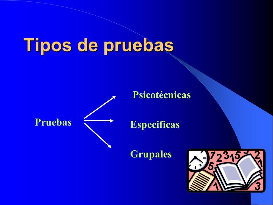 Tipos de pruebas Pruebas Psicotécnicas Especificas Grupales