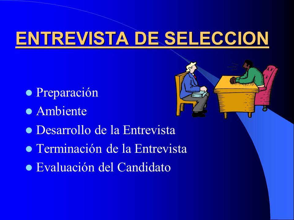 ENTREVISTA DE SELECCION Preparación Ambiente Desarrollo de la Entrevista Terminación de la Entrevista Evaluación del Candidato