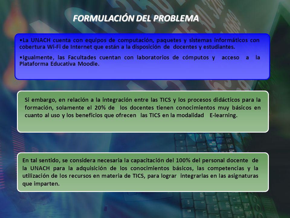FORMULACIÓN DEL PROBLEMA La UNACH cuenta con equipos de computación, paquetes y sistemas informáticos con cobertura Wi-Fi de Internet que están a la d