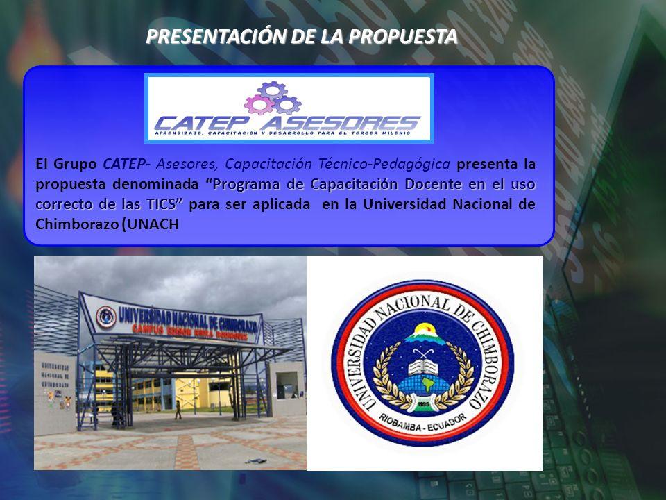 PRESENTACIÓN DE LA PROPUESTA Programa de Capacitación Docente en el uso correcto de las TICS El Grupo CATEP- Asesores, Capacitación Técnico-Pedagógica
