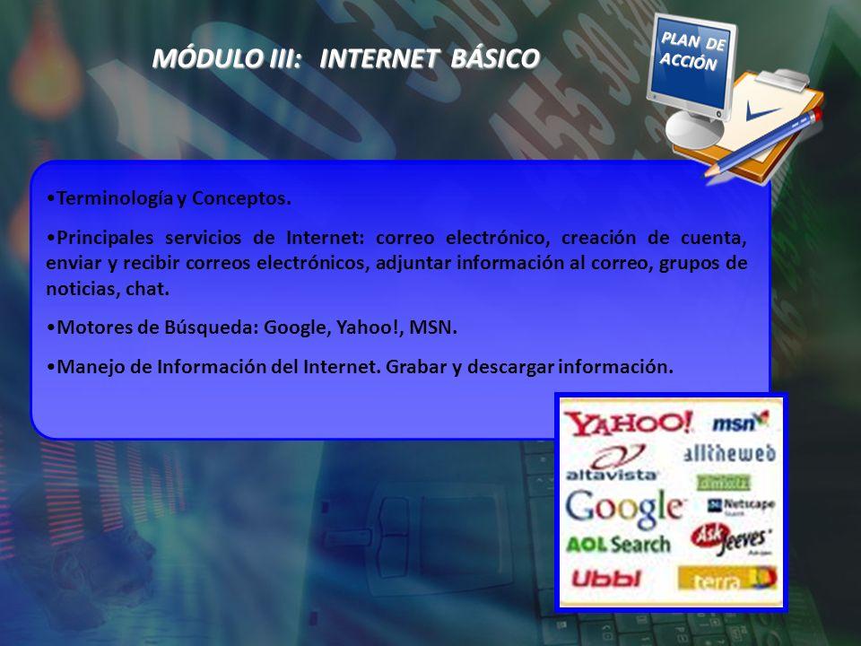 MÓDULO III: INTERNET BÁSICO Terminología y Conceptos. Principales servicios de Internet: correo electrónico, creación de cuenta, enviar y recibir corr