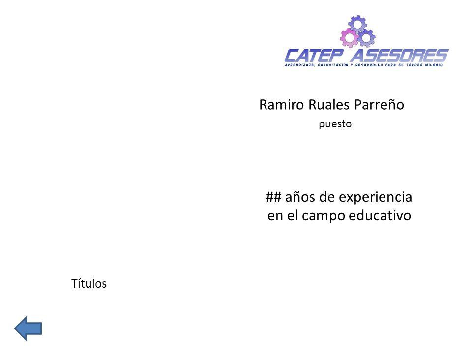 Ramiro Ruales Parreño puesto Títulos ## años de experiencia en el campo educativo