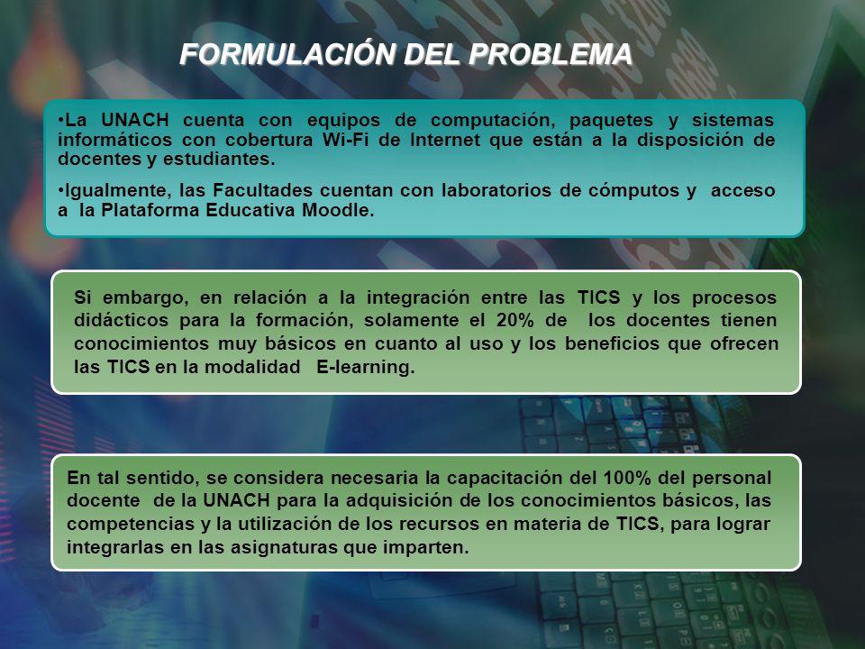 FORMULACIÓN DEL PROBLEMA La UNACH cuenta con equipos de computación, paquetes y sistemas informáticos con cobertura Wi-Fi de Internet que están a la disposición de docentes y estudiantes.
