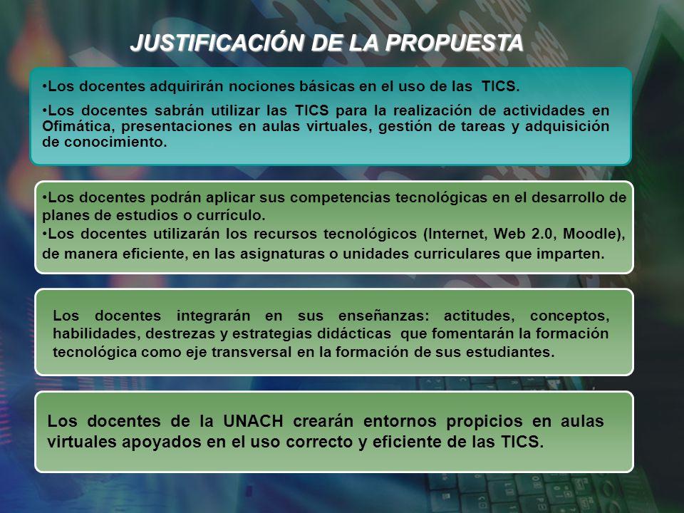 JUSTIFICACIÓN DE LA PROPUESTA Los docentes adquirirán nociones básicas en el uso de las TICS.