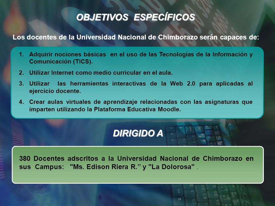OBJETIVOS ESPECÍFICOS Los docentes de la Universidad Nacional de Chimborazo serán capaces de: 1.Adquirir nociones básicas en el uso de las Tecnologías