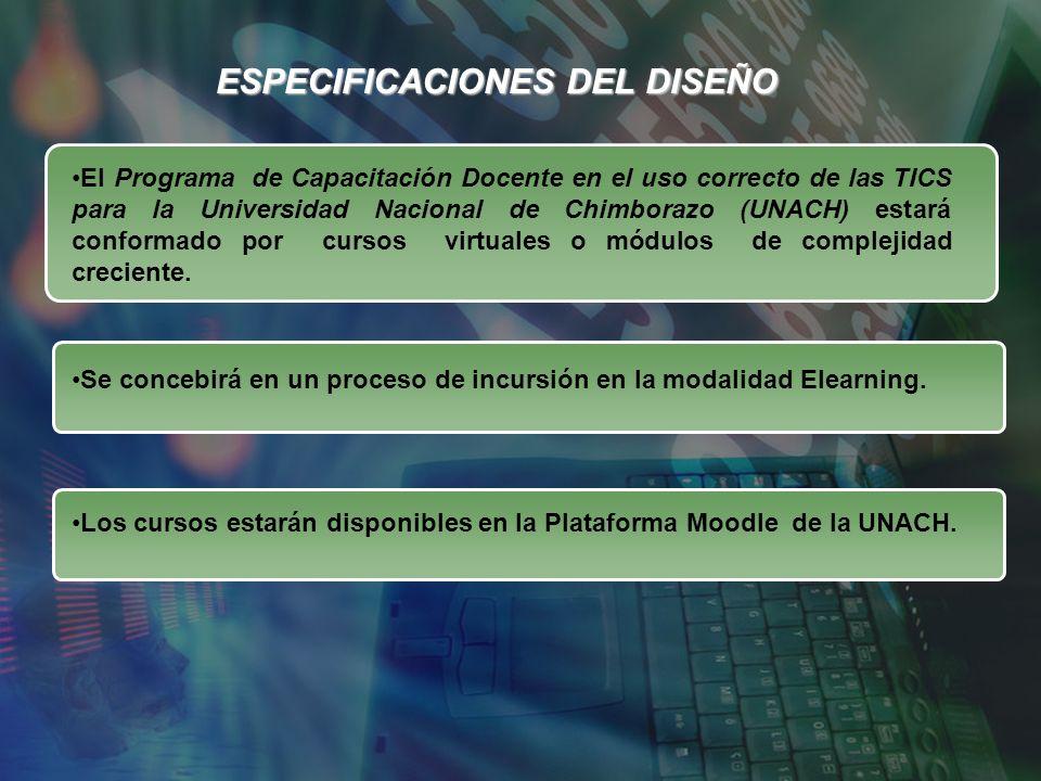 ESPECIFICACIONES DEL DISEÑO El Programa de Capacitación Docente en el uso correcto de las TICS para la Universidad Nacional de Chimborazo (UNACH) esta
