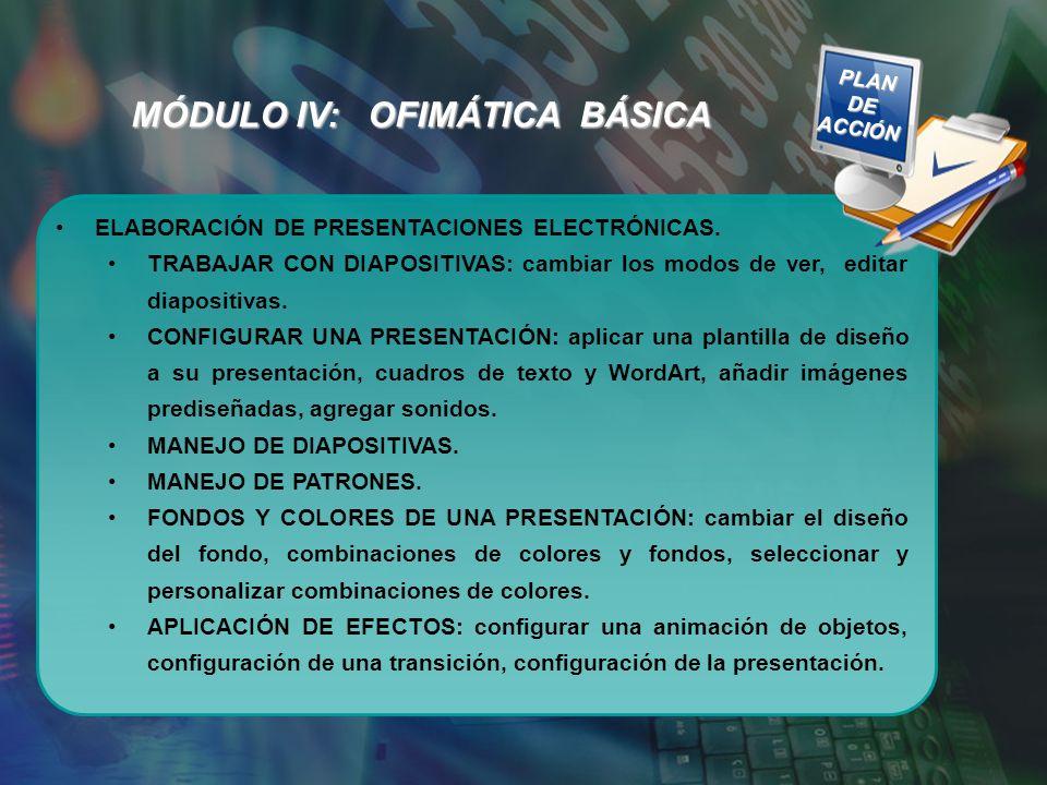 MÓDULO IV: OFIMÁTICA BÁSICA ELABORACIÓN DE PRESENTACIONES ELECTRÓNICAS. TRABAJAR CON DIAPOSITIVAS: cambiar los modos de ver, editar diapositivas. CONF