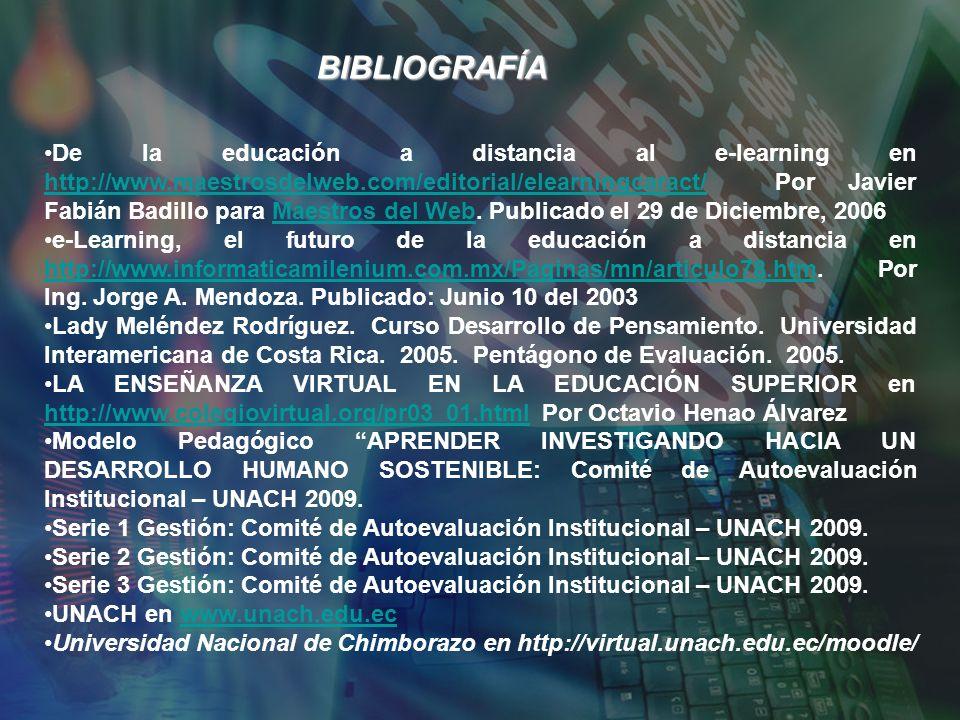 BIBLIOGRAFÍA De la educación a distancia al e-learning en http://www.maestrosdelweb.com/editorial/elearningcaract/ Por Javier Fabián Badillo para Maes