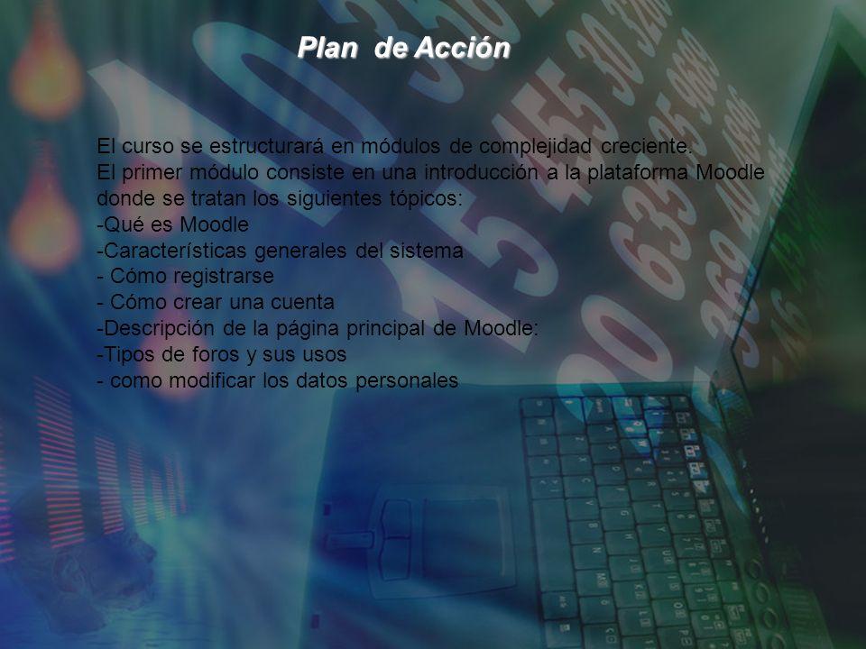 Plan de Acción Plan de Acción El curso se estructurará en módulos de complejidad creciente.