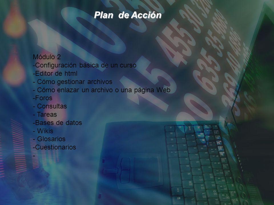 Plan de Acción Plan de Acción Módulo 2 -Configuración básica de un curso -Editor de html - Cómo gestionar archivos - Cómo enlazar un archivo o una página Web -Foros - Consultas - Tareas -Bases de datos - Wikis - Glosarios -Cuestionarios -