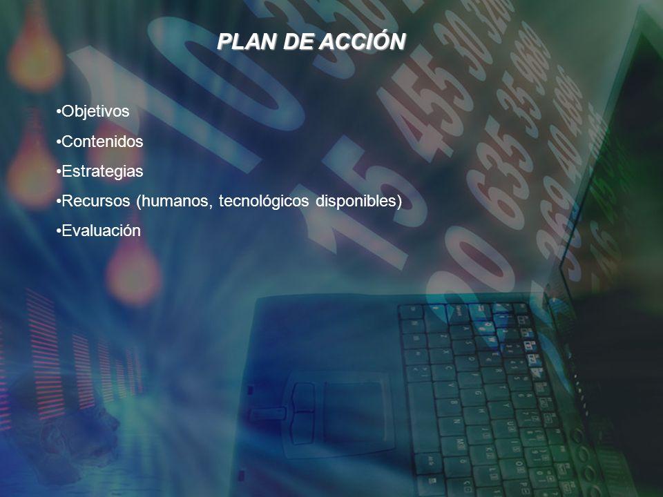 PLAN DE ACCIÓN Objetivos Contenidos Estrategias Recursos (humanos, tecnológicos disponibles) Evaluación