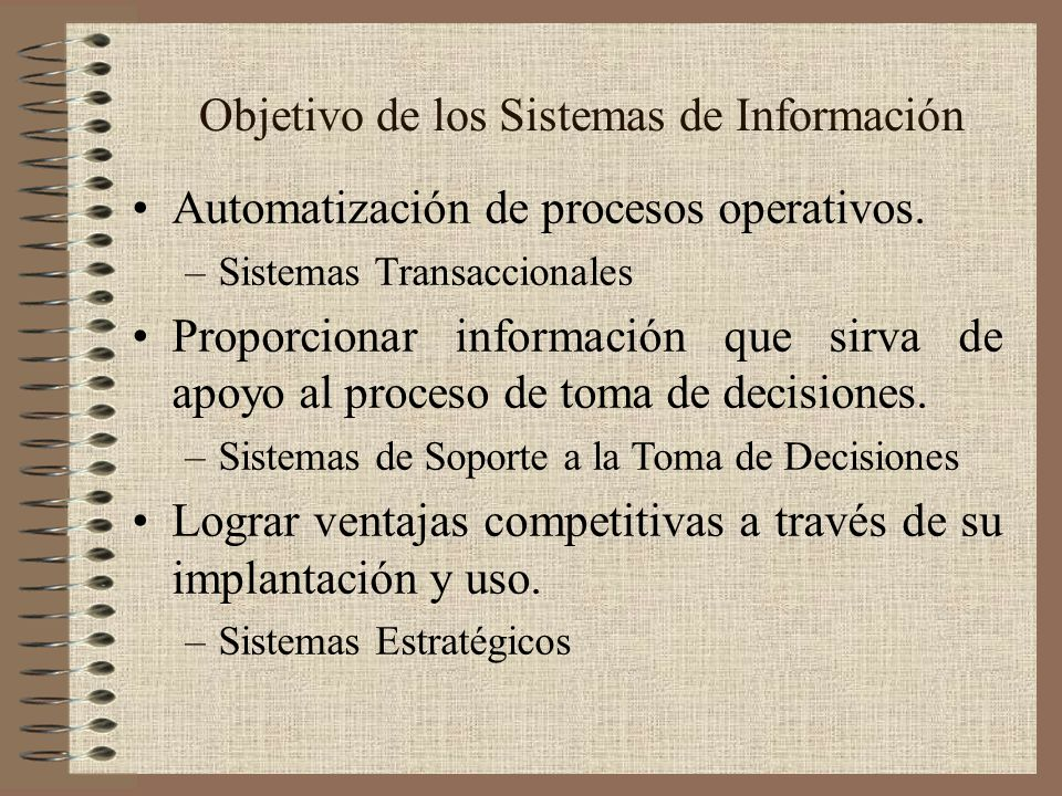 Objetivo de los Sistemas de Información Automatización de procesos operativos. –Sistemas Transaccionales Proporcionar información que sirva de apoyo a