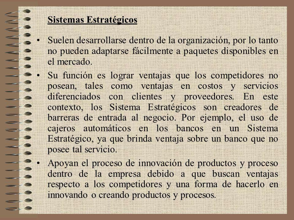 Sistemas Estratégicos Suelen desarrollarse dentro de la organización, por lo tanto no pueden adaptarse fácilmente a paquetes disponibles en el mercado