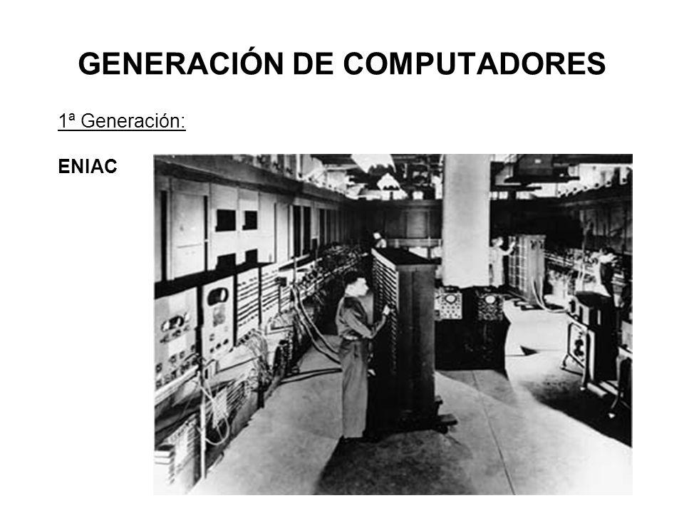 GENERACIÓN DE COMPUTADORES 1ª Generación: ENIAC