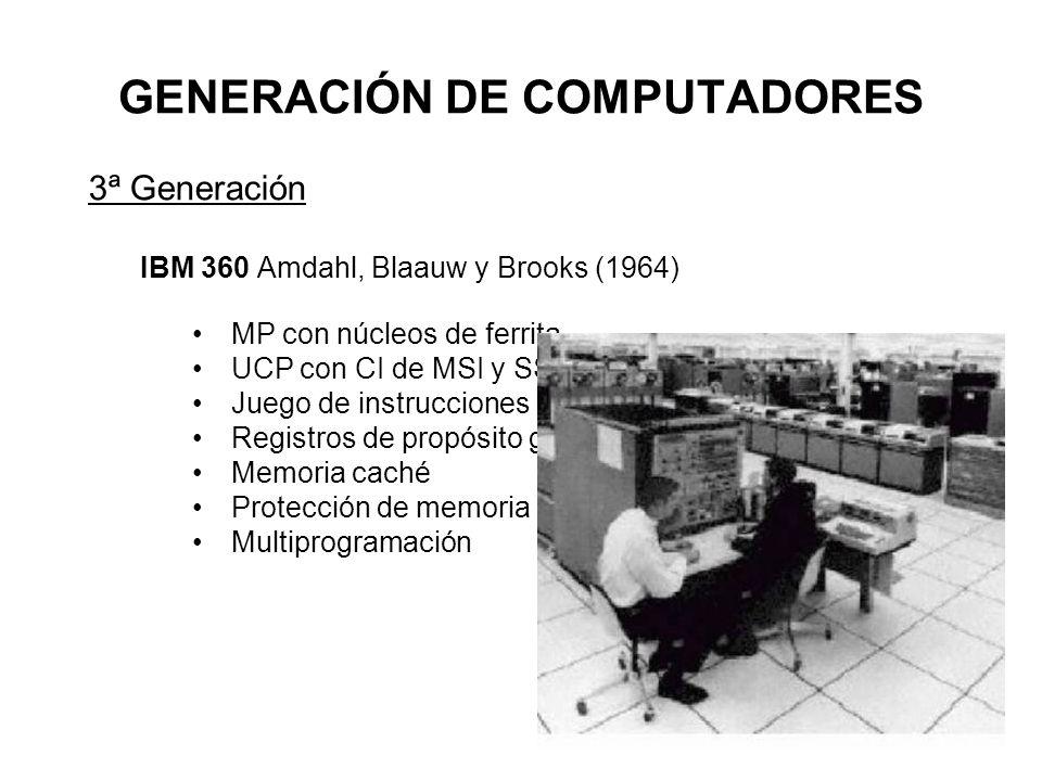 GENERACIÓN DE COMPUTADORES 3ª Generación IBM 360 Amdahl, Blaauw y Brooks (1964) MP con núcleos de ferrita UCP con CI de MSI y SSI Juego de instrucciones CISC Registros de propósito general Memoria caché Protección de memoria Multiprogramación