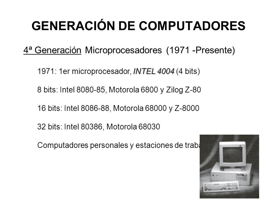 GENERACIÓN DE COMPUTADORES 4ª Generación Microprocesadores (1971 -Presente) INTEL 4004 1971: 1er microprocesador, INTEL 4004 (4 bits) 8 bits: Intel 8080-85, Motorola 6800 y Zilog Z-80 16 bits: Intel 8086-88, Motorola 68000 y Z-8000 32 bits: Intel 80386, Motorola 68030 Computadores personales y estaciones de trabajo