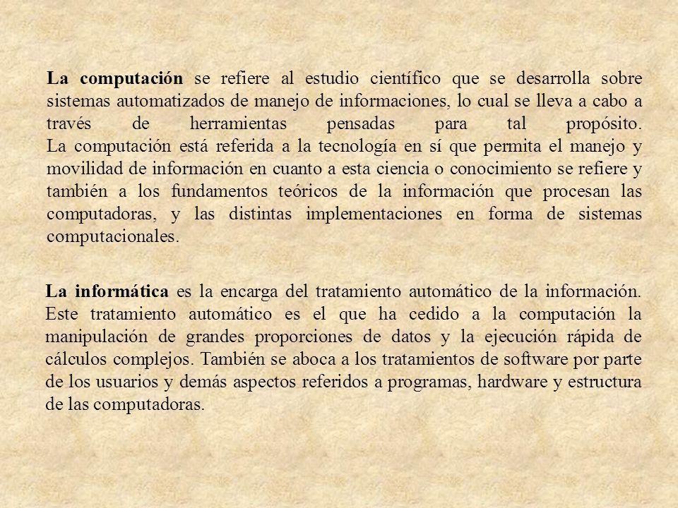 La computación se refiere al estudio científico que se desarrolla sobre sistemas automatizados de manejo de informaciones, lo cual se lleva a cabo a t