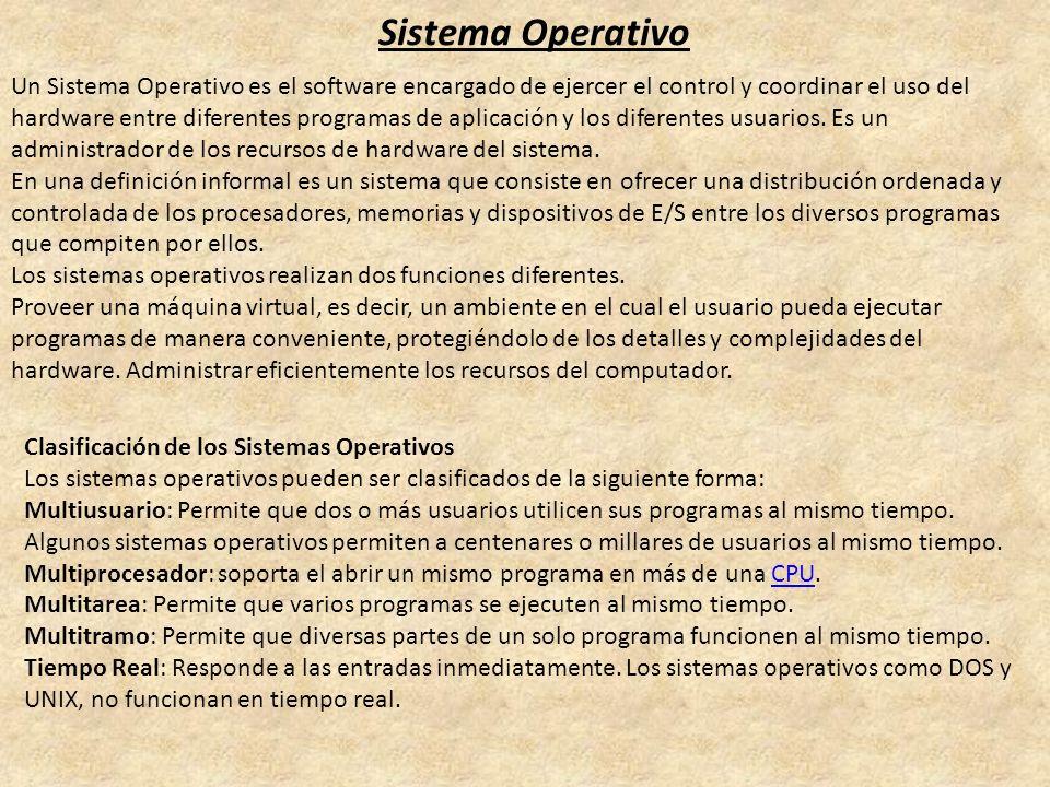 Sistema Operativo Un Sistema Operativo es el software encargado de ejercer el control y coordinar el uso del hardware entre diferentes programas de ap