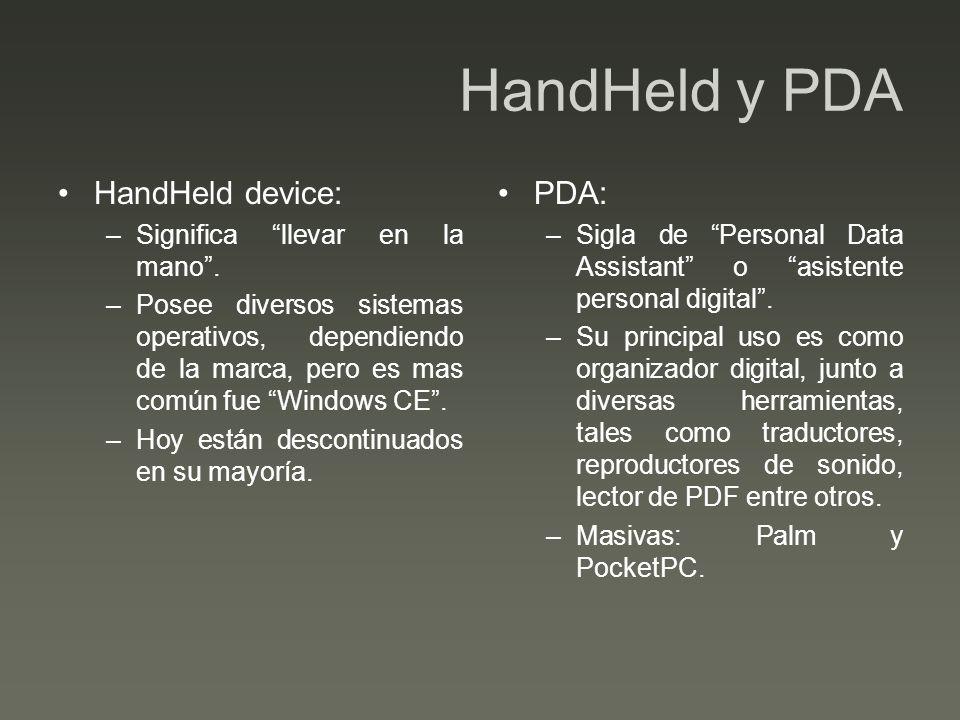 HandHeld y PDA HandHeld device: –Significa llevar en la mano.