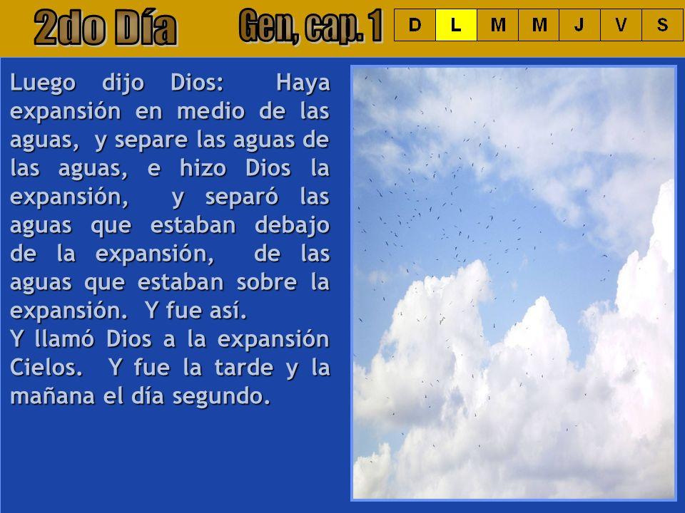 Luego dijo Dios: Haya expansión en medio de las aguas, y separe las aguas de las aguas, e hizo Dios la expansión, y separó las aguas que estaban debaj