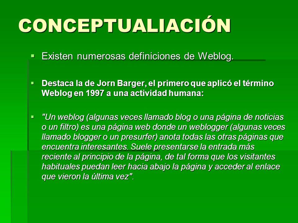 CONCEPTUALIACIÓN Existen numerosas definiciones de Weblog. Existen numerosas definiciones de Weblog. Destaca la de Jorn Barger, el primero que aplicó