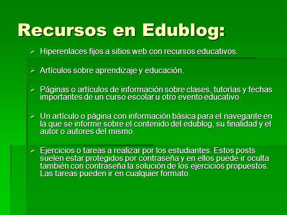Recursos en Edublog: Hiperenlaces fijos a sitios web con recursos educativos. Hiperenlaces fijos a sitios web con recursos educativos. Artículos sobre