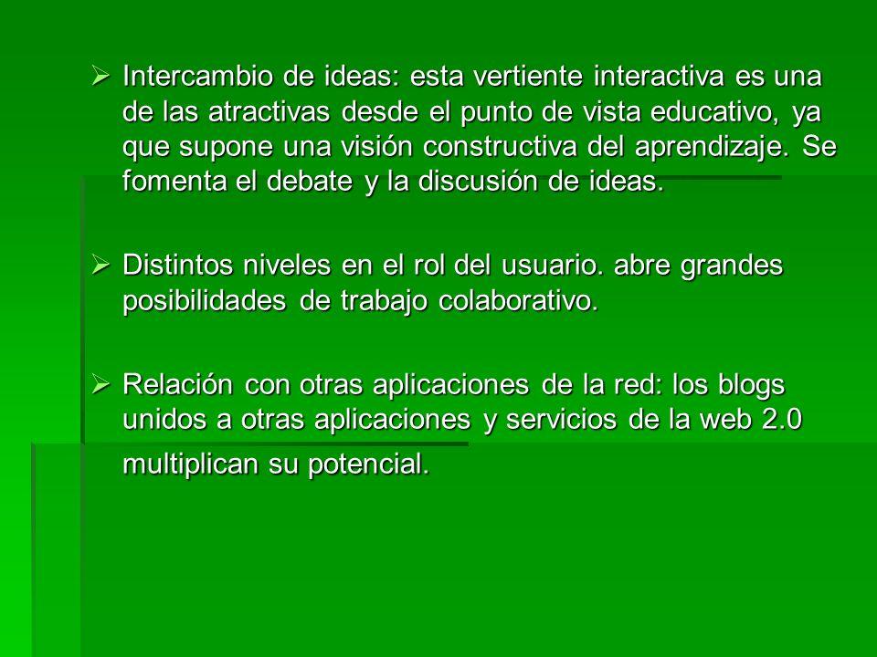 Intercambio de ideas: esta vertiente interactiva es una de las atractivas desde el punto de vista educativo, ya que supone una visión constructiva del